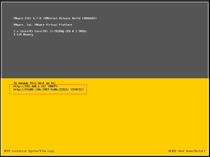 Install ESXI 6.7 - The last step and display the IP address